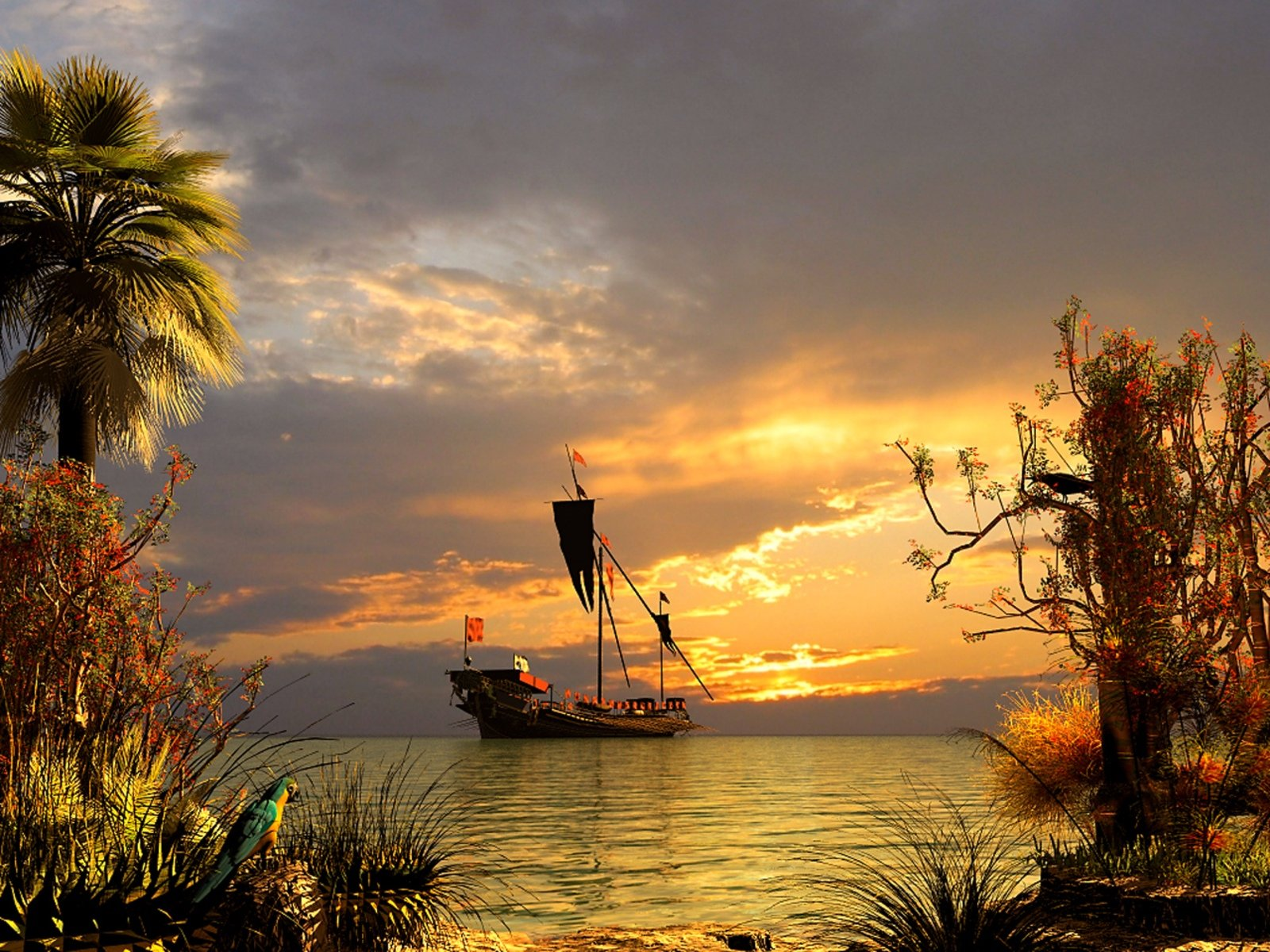 schiff im sonnenuntergang